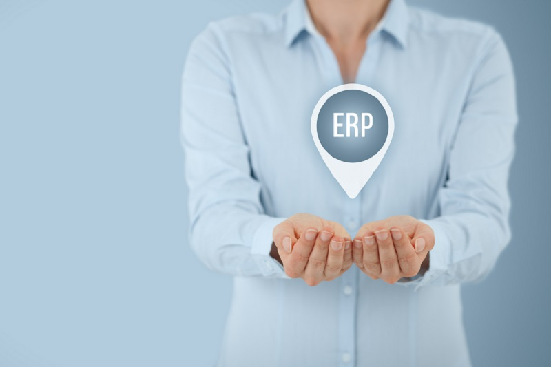Enterprise resource planning ERP concept. Businesswoman offer ERP business management software for collect, store, manage and interpret business data.